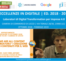"ECCELLENZE IN DIGITALE 2018-2019 | 2° APPUNTAMENTO: ""WE ARE ALL CONTENT CREATORS"" – 31 OTTOBRE 2018, ORE 10.00"